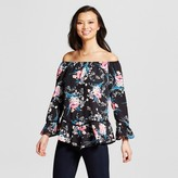 Notations Women's Floral Printed Off the Shoulder Knit Top