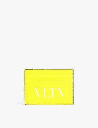 Valentino Logo-print neon leather card holder