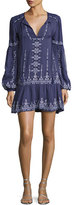 Parker Nola Long-Sleeve Split-Neck Embroidered Minidress, Slate
