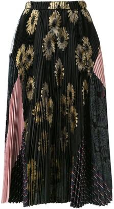 Biyan micro-pleated floral skirt