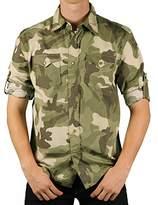 Ditch Plains Young Men's Roll-Sleeve Camo Shirt