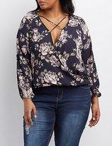 Charlotte Russe Plus Size Floral Strappy Surplice Blouse