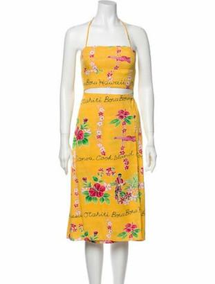 Reformation Floral Print Knee-Length Dress Pink