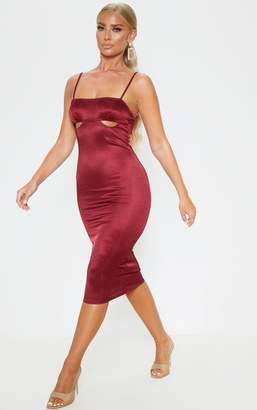 PrettyLittleThing Burgundy Shimmer Strappy Cut Out Cup Midi Dress