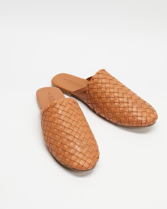 Human Premium - Women's Brown Brogues & Loafers - Barland Woven Leather Slides - Size 37 at The Iconic