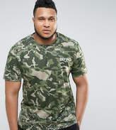 Defend London PLUS Camo T-Shirt With Paint Splatter