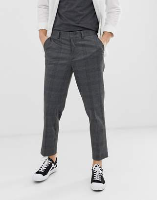 Selected tapered cropped trousers in grey check