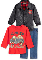 Nannette Baby Boys' 3-Pc. Quilted Jacket, T-Shirt & Jeans Set