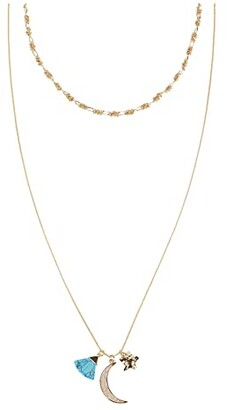 Rebecca Minkoff Moon Charm Cluster Layer Necklace (Gold) Necklace