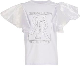 River Island Girls Diamnte Organza Sleeve T-Shirt-Lilac