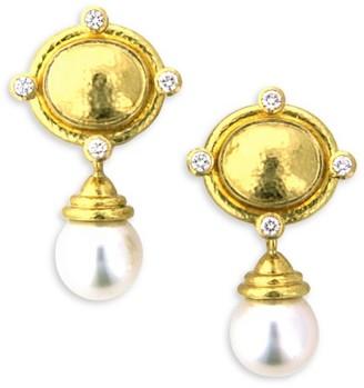 Elizabeth Locke 19K Yellow Gold, White South Sea Pearl & Diamond Drop Earrings