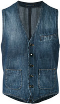 Lardini washed denim waistcoat - men - Cotton - 46
