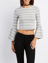 Charlotte Russe Striped Bell Sleeve Tee