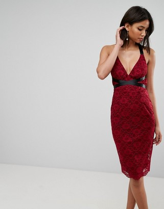 Asos Design ASOS Lace Pencil With Ribbon Ties Midi Dress