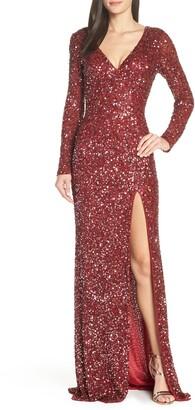 Mac Duggal Sequin Long Sleeve Slit Column Gown