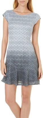 Tiana B Women's Chevron Ombre Lace Dropped Waist Dress Cap Sleeves Grey 6