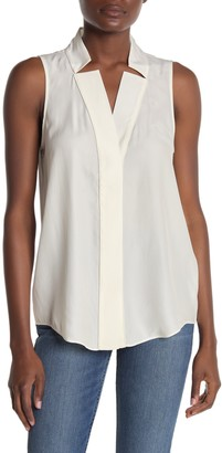 Frame Sleeveless Notch Collar Blouse
