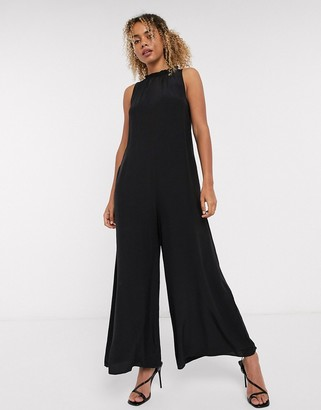 And other stories & high neck romper jumpsuit in black