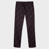 Paul Smith Men's Slim-Fit Navy Stretch-Cotton Mixed-Motif Trousers