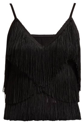 Norma Kamali Tiered-fringe Stretch-jersey Crop Top - Black