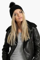 Boohoo Lilly Faux Fur Pom Beanie Hat