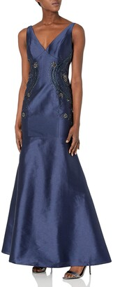 Adrianna Papell Women's Irridescent Faille Trumpet Skirt Gown