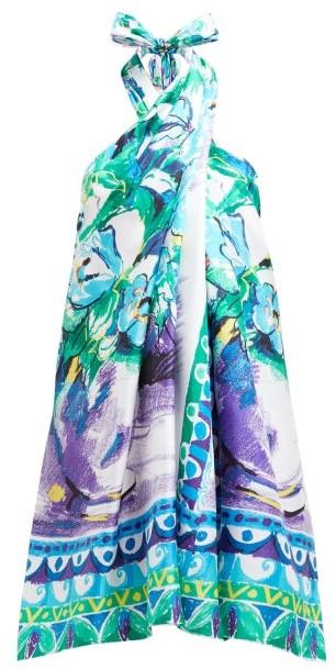 Prada Floral-print Halterneck Silk-satin Dress - Blue Multi