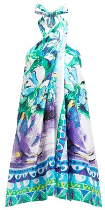 Prada Floral-print Halterneck Silk-satin Dress - Blue Multi