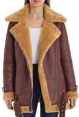 AVEC LES FILLES Faux Fur-Trim Biker Jacket