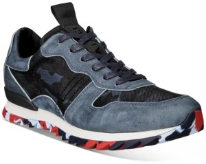 Karl Lagerfeld Paris Men's Camo Mesh & Leather Runner Sneakers with Speckled Sole Men's Shoes