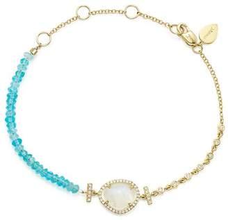 Meira T 14K Yellow Gold Rainbow Moonstone, Diamond and Neon Apatite Beaded Bracelet