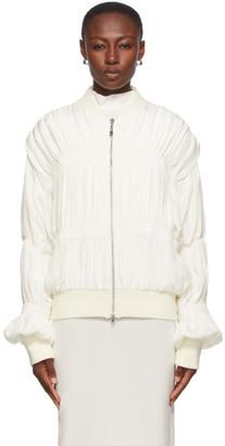 Winnie New York Off-White Silk Ruched Bomber Jacket