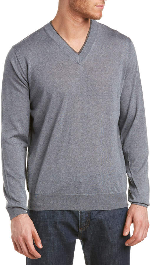 Canali Wool Long Sleeve Sweater