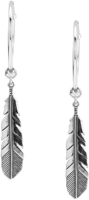 American West Sterling Feather Drop Hoop Earrings