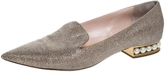 Nicholas Kirkwood Gold Glitter Fabric Casati Faux Pearl Heel Pointed Toe Loafers Size 41