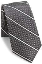 611 Saks Fifth Avenue New York Textured Striped Silk Tie