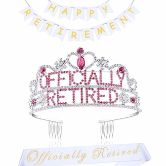Coucoland Crystal Officially Retired Tiara with Sash Women Rhinestone Officially Retired Crown Headband Accessories for Retired Party