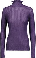 Carven Metallic ribbed-knit turtleneck sweater