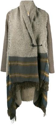 UMA WANG panelled fringed cardi-coat