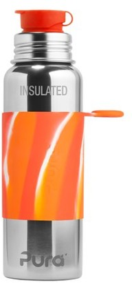 Pura Sport Vacuum Insulated 22 OZ / 650 ML Stainless Steel Water Bottle with Silicone Sport Flip Cap & Sleeve (Plastic Free, NonToxic Certified, BPA Free)