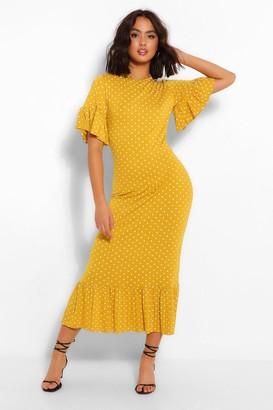 boohoo Polka Dot Frill Hem Midi Dress