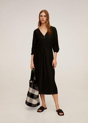 MANGO Pleated midi dress black - 4 - Women