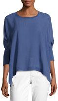 Eileen Fisher Sheer Round-Neck Silk Georgette Top