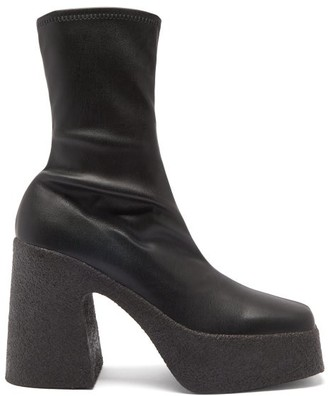 Stella McCartney Faux-leather Platform Ankle Boots - Black