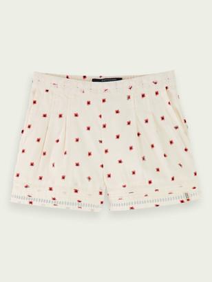 Scotch & Soda Mid-rise cotton-blend lace detail shorts | Girls