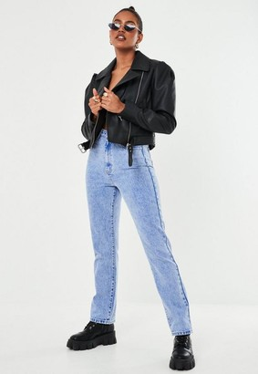 Missguided Faux Leather Puff Sleeve Biker Jacket