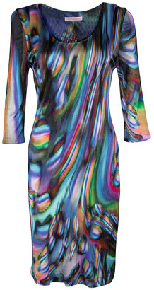 Matthew Williamson Multicolor Printed Knit Long Sleeve Dress M