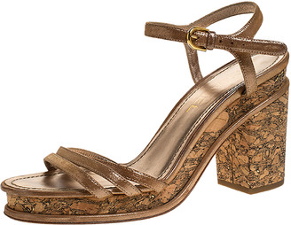 Chanel Beige Lame Fabric Strappy Cork Platform Sandals Size 39.5