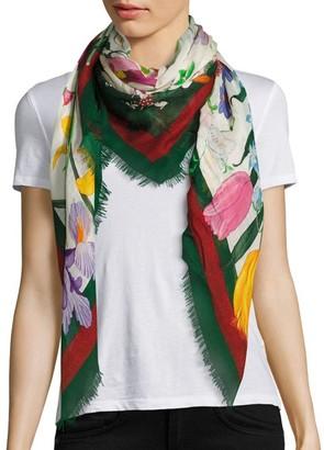Gucci Floral Web Wool & Silk Scarf