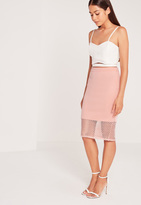 Missguided Mesh Hem Midi Skirt Pink